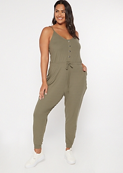 Plus Olive Drawstring Waist Faux Button Down Jumpsuit