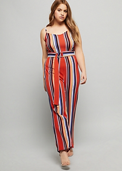 Plus Burnt Orange Striped Crepe Wide Leg Jumpsuit