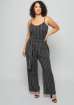 Plus Black Striped Crepe Wide Leg Jumpsuit