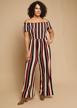 Plus Burgundy Striped Pattern Smocked Lettuce Edge Jumpsuit