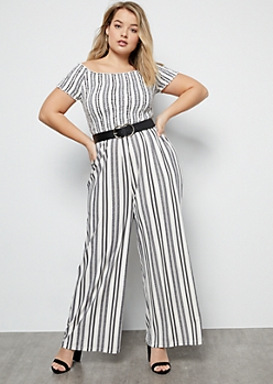 Plus White Striped Super Soft Smocked Jumpsuit