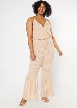 Plus Beige Striped Ruffle Flare Jumpsuit