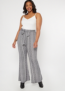 Plus White Border Print Super Soft Flare Jumpsuit
