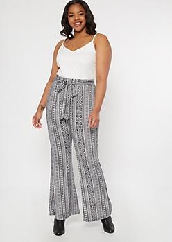 Plus White Border Print Super Soft Flare Jumpsuit