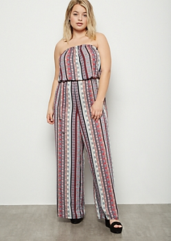 Plus Pink Striped Border Print Wide Leg Jumpsuit