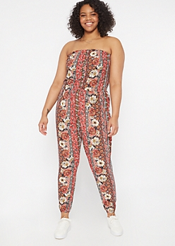 Plus Burnt Red Striped Floral Print Button Down Jumpsuit