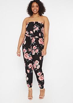 Plus Black Floral Print Button Down Jumpsuit