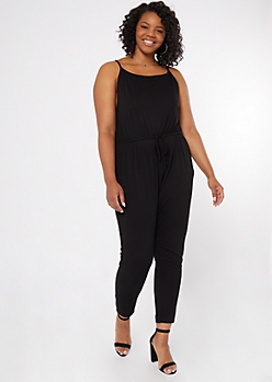 Plus Black Cinched Skinny Jumpsuit