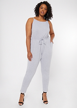 Plus Gray Cinched Skinny Jumpsuit