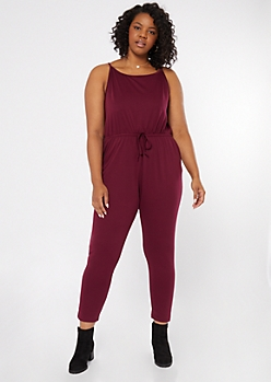 Plus Burgundy Cinched Skinny Jumpsuit