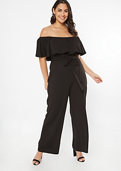Plus Black Flounce Wide Leg Jumpsuit