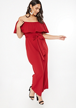 Plus Burgundy Flounce Wide Leg Jumpsuit