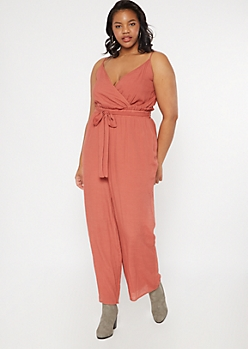 Plus Burnt Red Paperbag Waist Surplice Jumpsuit