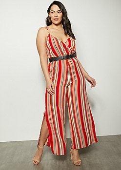Plus Red Striped Sleeveless Slide Slit Jumpsuit