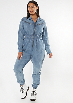 Plus Medium Wash Zippered Denim Jumpsuit