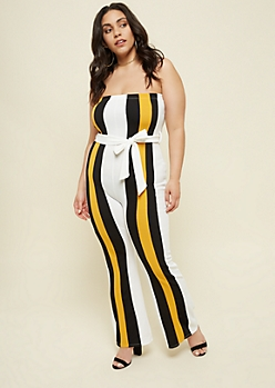 Plus White Striped Pattern Strapless Jumpsuit