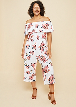 Plus Ivory Floral Print Off Shoulder Flounce Cropped Jumpsuit