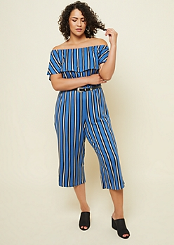 Plus Blue Striped Pattern Off Shoulder Flounce Cropped Jumpsuit