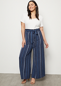 Plus Navy Striped Paperbag Wide Leg Jumpsuit