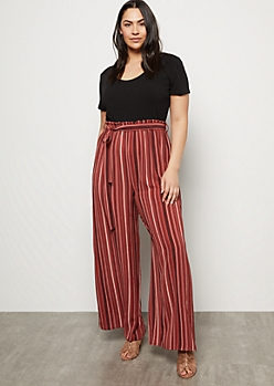 Plus Dark Mauve Striped Paperbag Wide Leg Jumpsuit