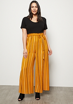 Plus Mustard Striped Paperbag Wide Leg Jumpsuit