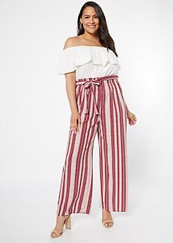 Plus Burgundy Striped Super Soft Contrast Jumpsuit