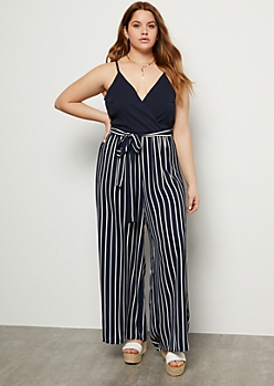 Plus Navy Striped Contrast Paperbag Waist Jumpsuit