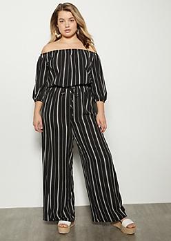 Plus Black Striped Wide Leg Bell Sleeve Jumpsuit