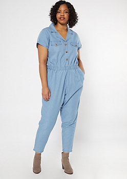 Plus Light Wash Cuffed Hem Boiler Suit