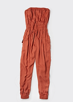 Plus Burnt Orange Cargo Pocket Tube Top Jumpsuit