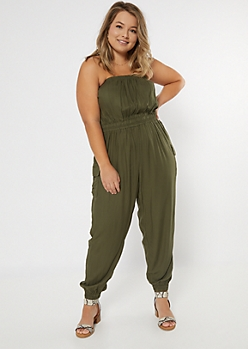 Plus Olive Cargo Pocket Tube Top Jumpsuit