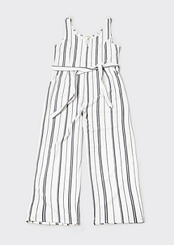 Plus White Railroad Striped Wide Leg Jumpsuit