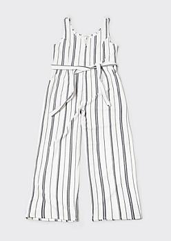 Plus White Railroad Striped Wide Leg Jumpsuit