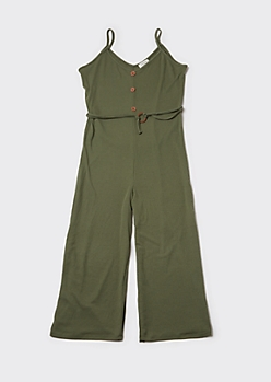 Plus Olive Ribbed Knit Wide Leg Jumpsuit