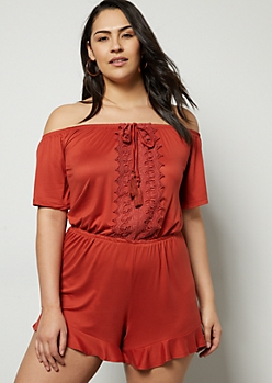 f9638fe13e6 Plus Burnt Orange Crochet Off The Shoulder Flowy Romper