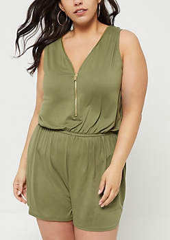 Plus Olive Super Soft Zipper Front Romper