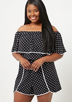 Plus Black Dot Super Soft Crochet Trimmed Off Shoulder Romper