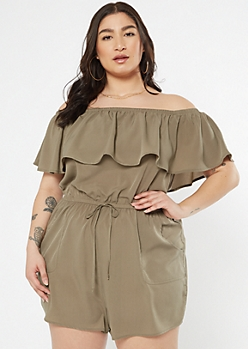 Plus Olive Floral Print Flounce Off The Shoulder Romper