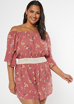 Plus Dusty Pink Floral Print Off The Shoulder Romper
