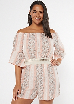 Plus Pink Floral Border Print Off The Shoulder Romper