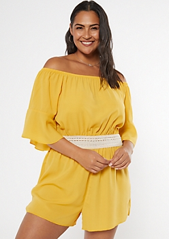 Plus Yellow Crochet Waist Off The Shoulder Romper