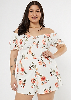 Plus Ivory Floral Print Smocked Off The Shoulder Romper