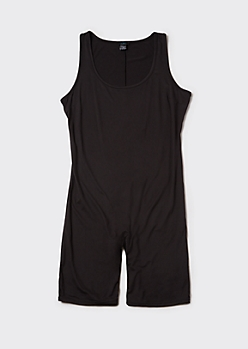 Plus Black Super Soft Bike Short Romper