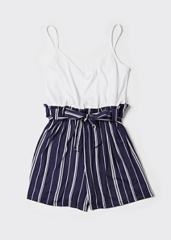 Plus Navy Striped Paperbag Waist Romper