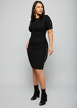 Plus Black Button Ribbed Knit Midi Sweater Dress