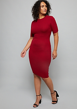 Plus Red Button Ribbed Knit Midi Sweater Dress