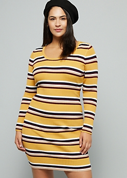 Mustard Striped Long Sleeve Mini Sweater Dress