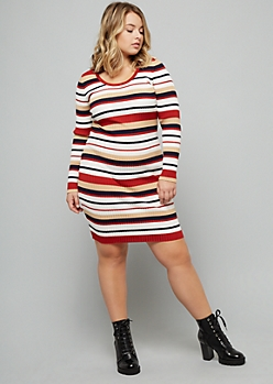 Plus Orange Striped Long Sleeve Mini Sweater Dress