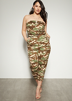 beee4d2ac28 Plus Camo Print Ruched Strapless Jumpsuit