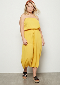 Plus Yellow Cropped Gaucho Tube Top Jumpsuit